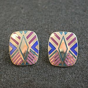 Vintage Laurel Burch Signed Silver Tone Studs